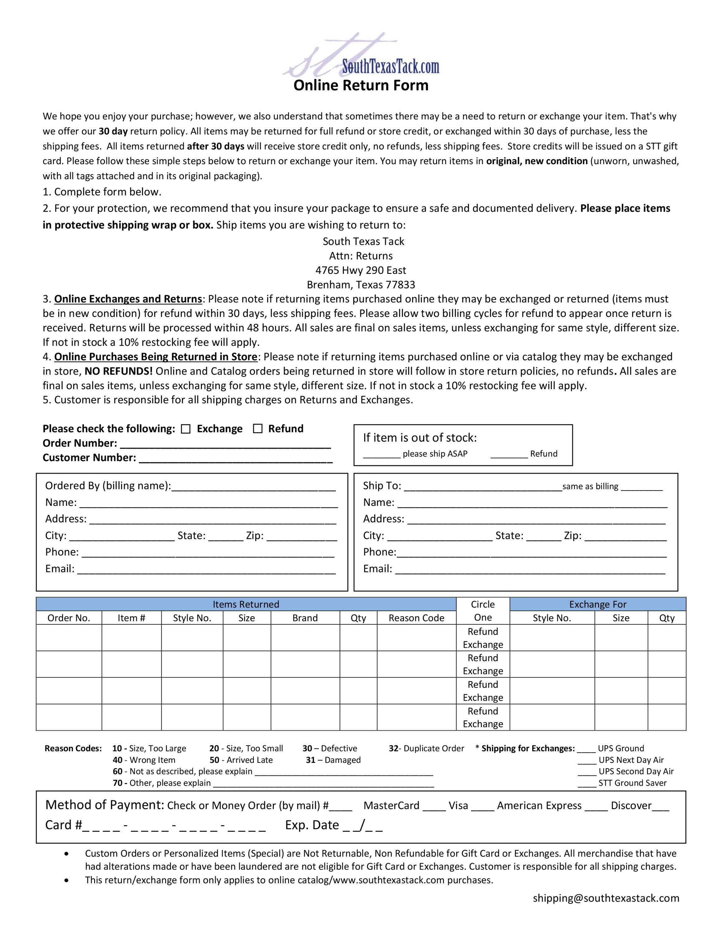 policies south texas tack please use online return form