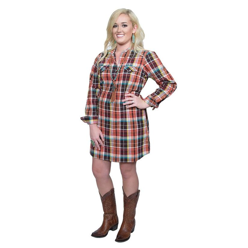 Wrangler Women's Multicolor Plaid Snap Dress