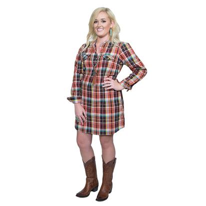 Wrangler Womens Multicolor Plaid Snap Dress