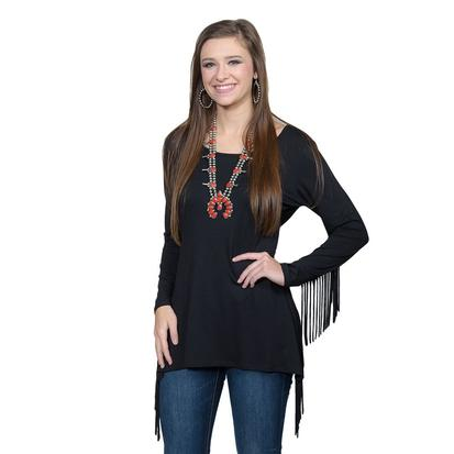 Tasha Polizzi Womens Teton Tunic in Black with Fringed Arms