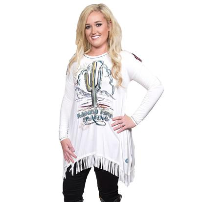 Double D Ranch Womens Ragged Rock Fringed Trading Top