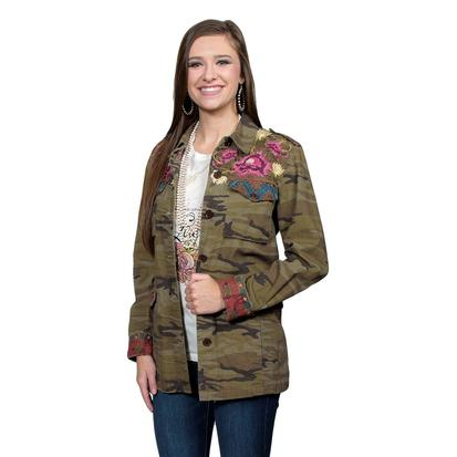 Johnny Was Camo Cargo Jacket with Embroidery