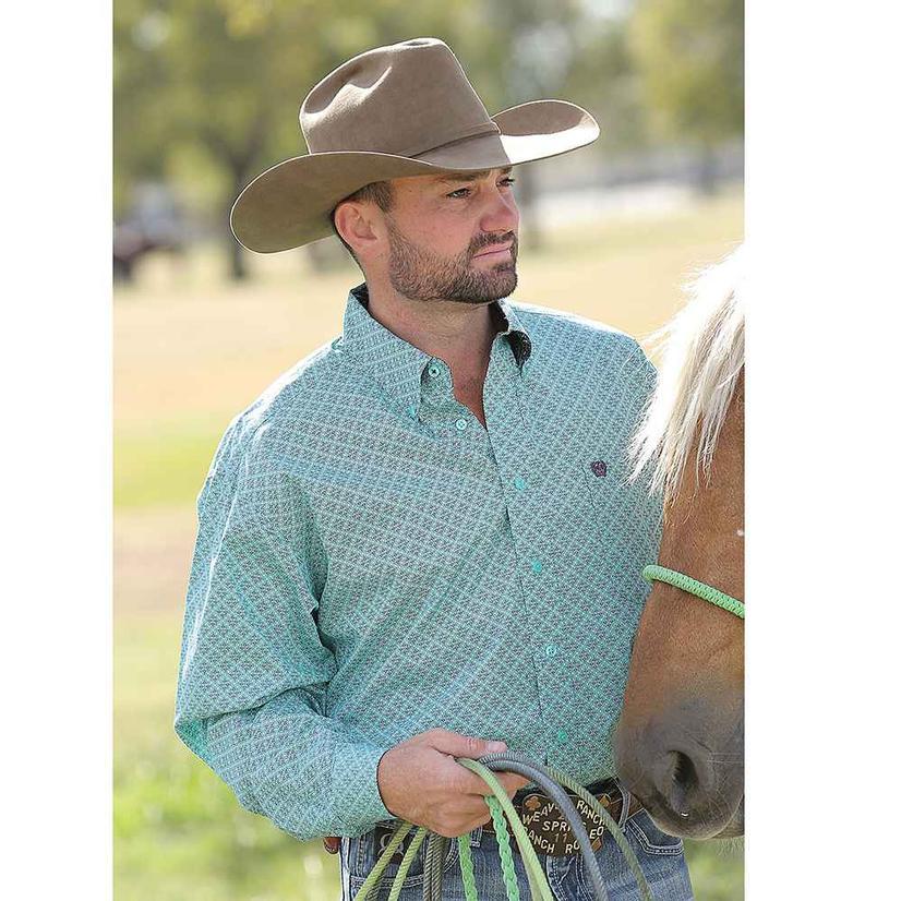 Cinch Mens Turquoise Geometric Long Sleeve Shirt