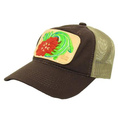 Miranda McIntire Red Floral Tooled Patch Cap