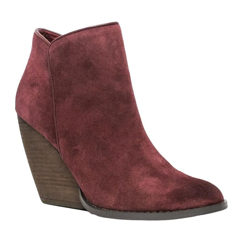 Very Volatile Whitby Wine Suede Wedge Booties