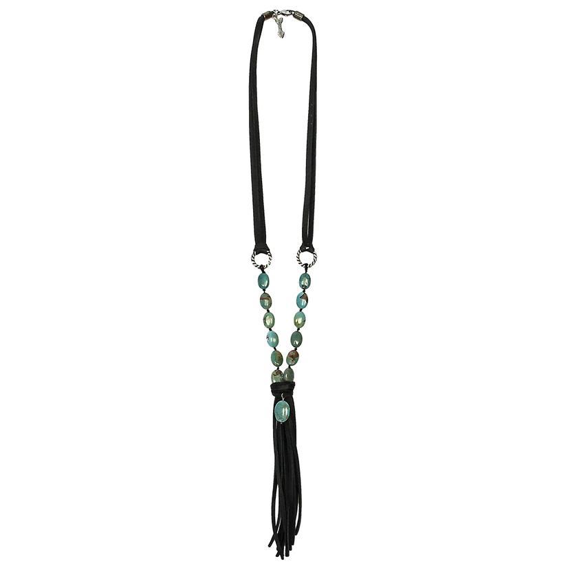 Lucky Lou Turquoise Fringe Necklace BLACK