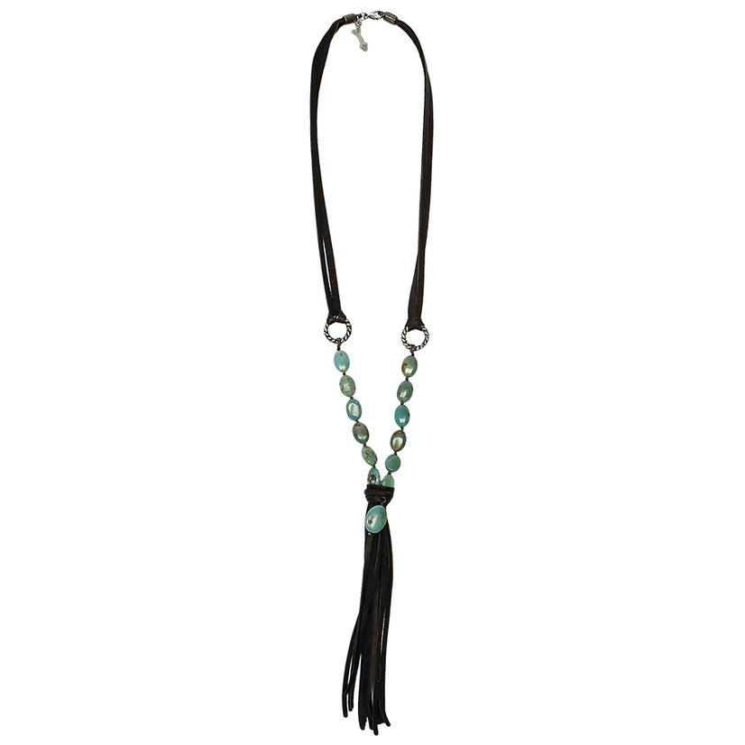 Lucky Lou Turquoise Fringe Necklace BROWN