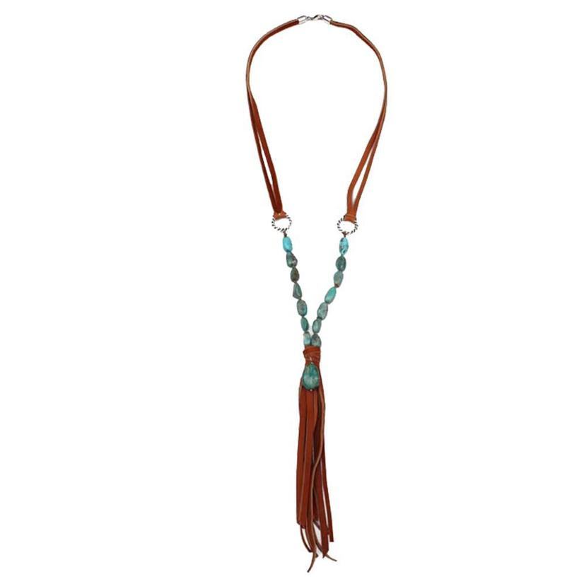 Lucky Lou Turquoise Fringe Necklace TAN