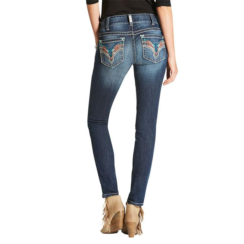 Ariat Womens Real Mid Rise Skinny Savannah Rockaway Jeans