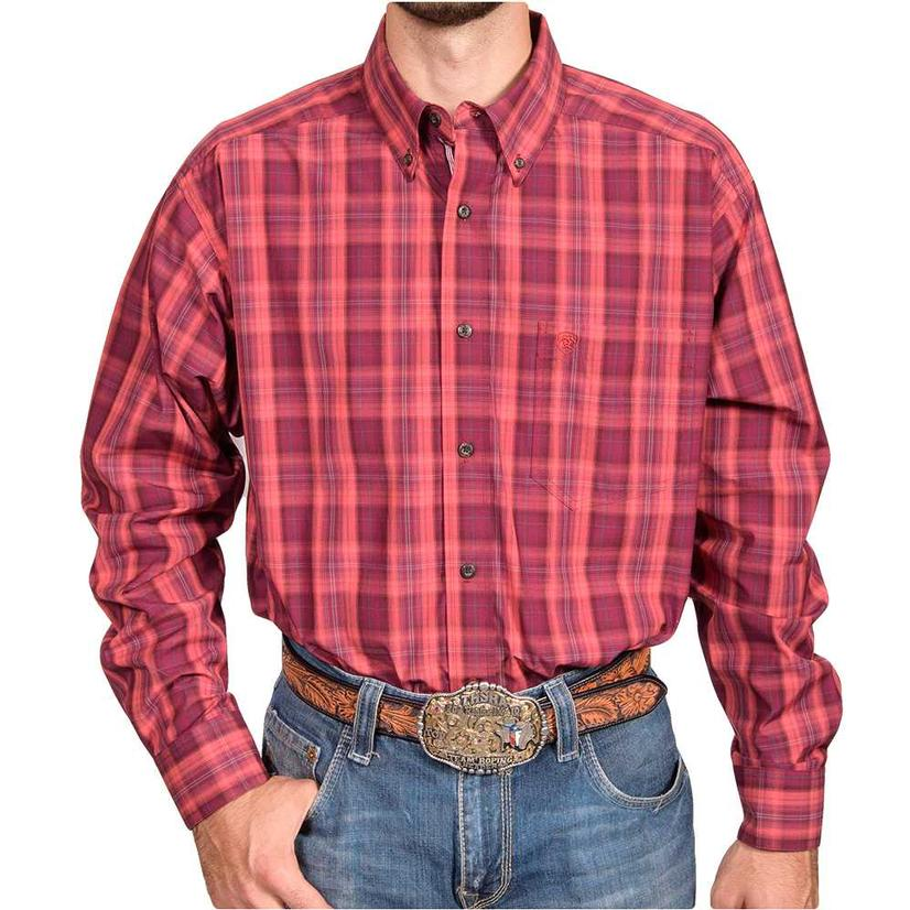 Ariat Mens Burgundy Plaid Long Sleeve Shirt