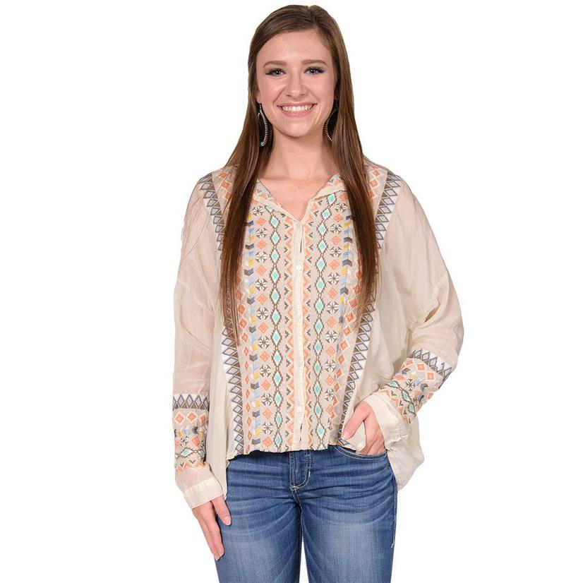 Johnny Was Womens Shell Multi Color Aztec Embroidered Top