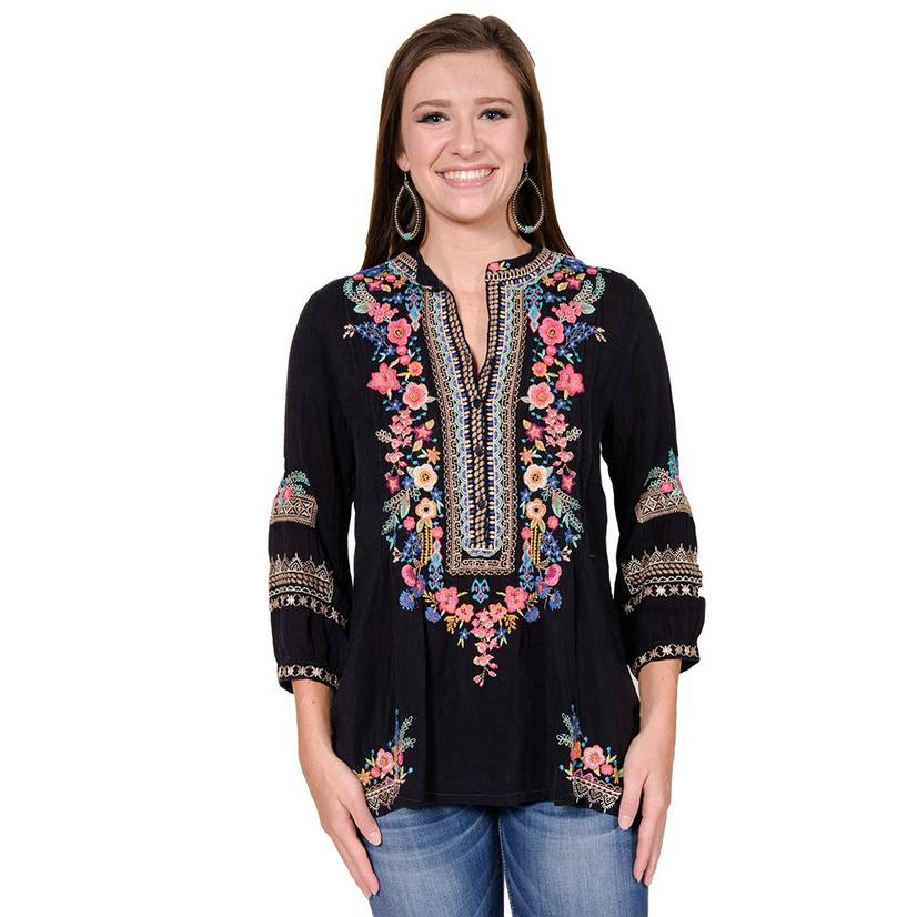Johnny Was Women's Black with Multi Color Embroidery Tunic