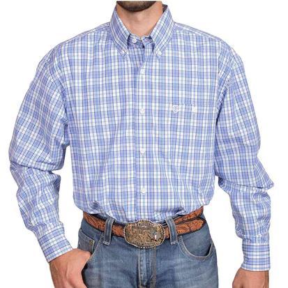 Wrangler George Strait Mens Blue White Plaid Long Sleeve Shirt