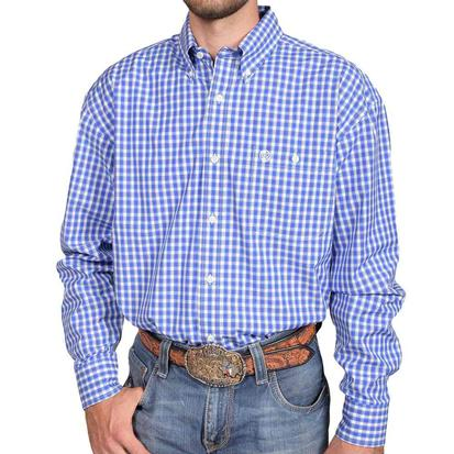 Wrangler Mens George Strait Blue White Plaid Long Sleeve Western Shirt