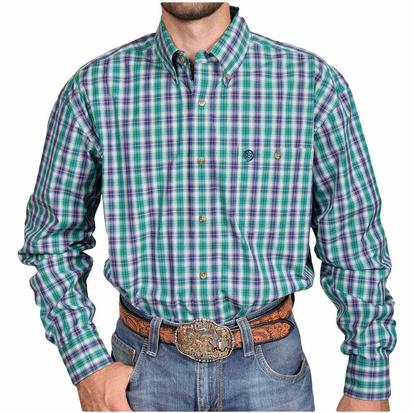 Wrangler George Strait Mens Long Sleeve Green Western Shirt