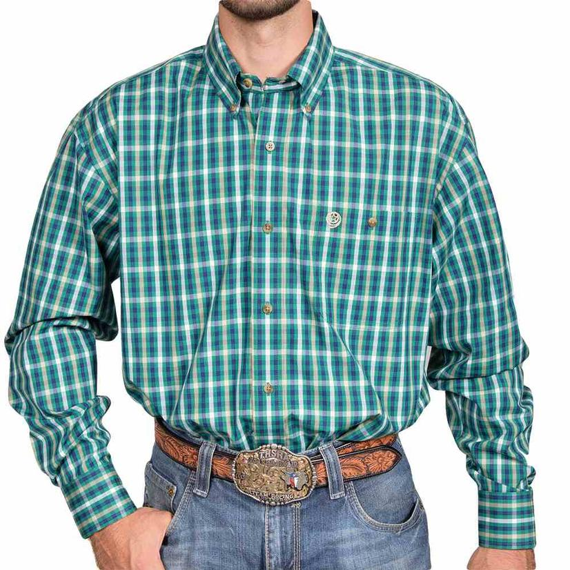 Wrangler Mens George Strait Navy Green Plaid Long Sleeve Western Shirt