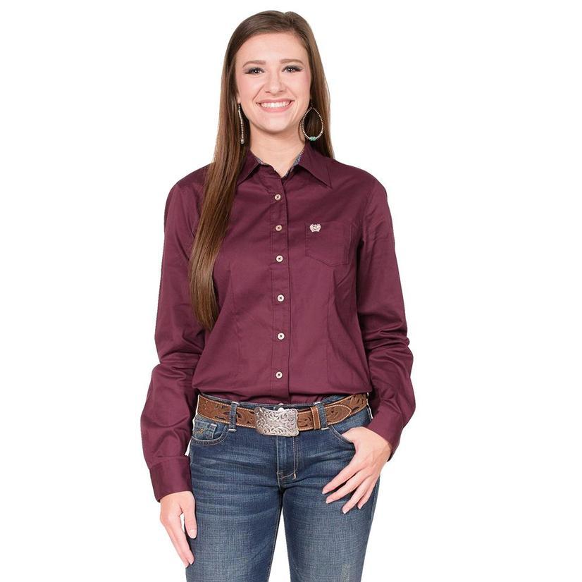 Cinch Womens Longsleeve Burgundy Shirt
