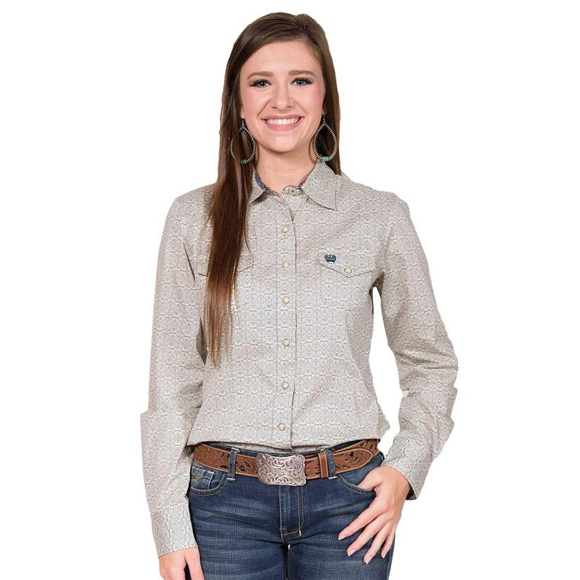 Cinch Womens Long Sleeve Cream Printed Shirt
