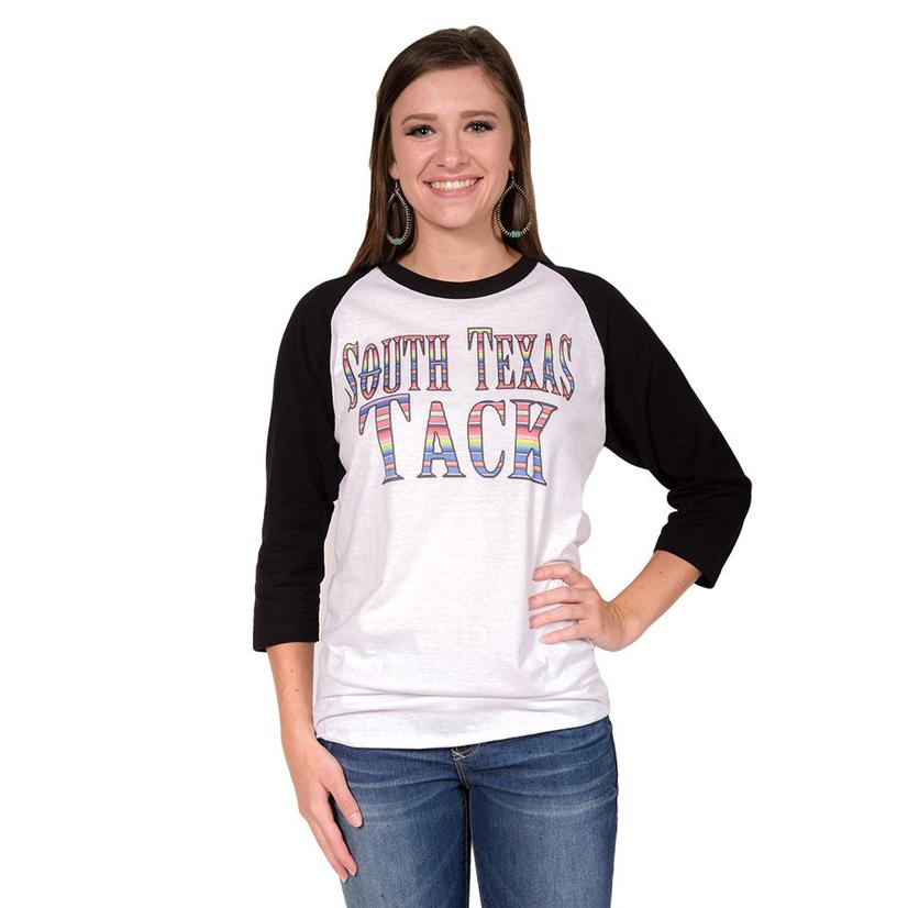 South Texas Tack Womens Serape Baseball Sleeve Top
