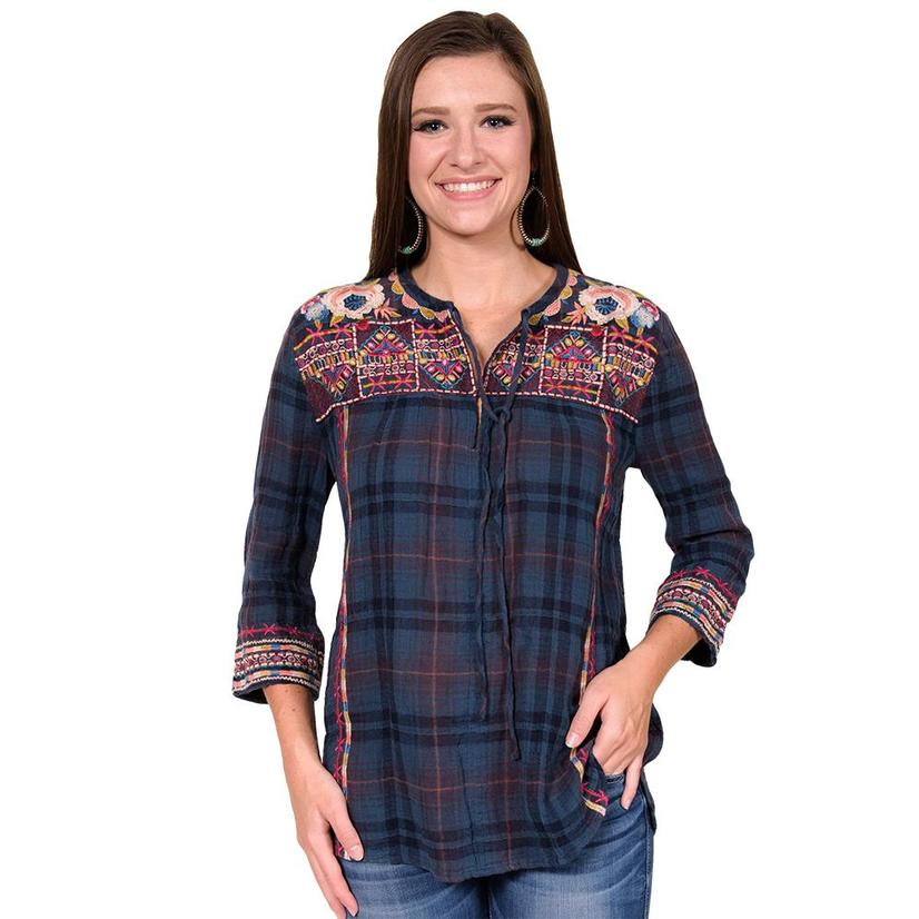 Johnny Was Womens Navy Plaid Boho Blouse with Floral Design Top