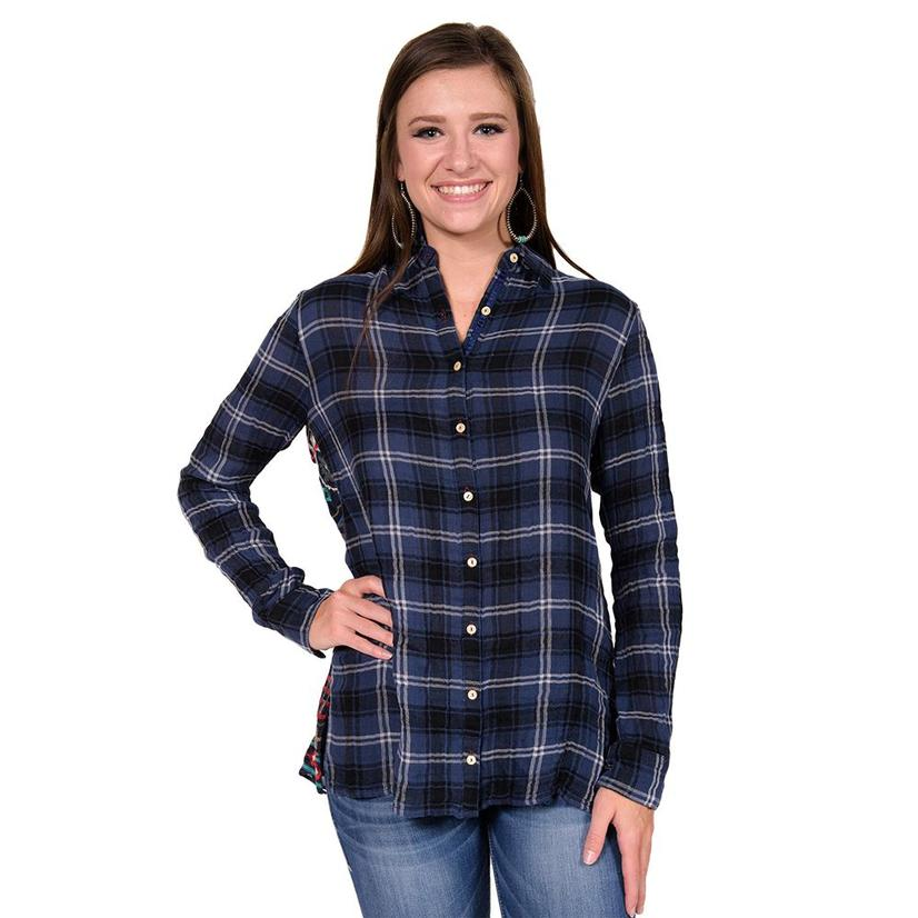 Johnny Was Womens Navy Plaid Button Up Embroidered Back Top