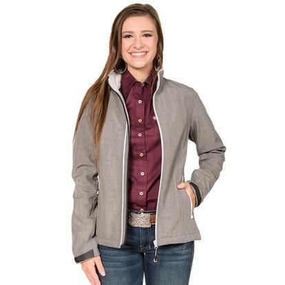 Roper Womens Grey Bonded Soft Shell Zip Jacket