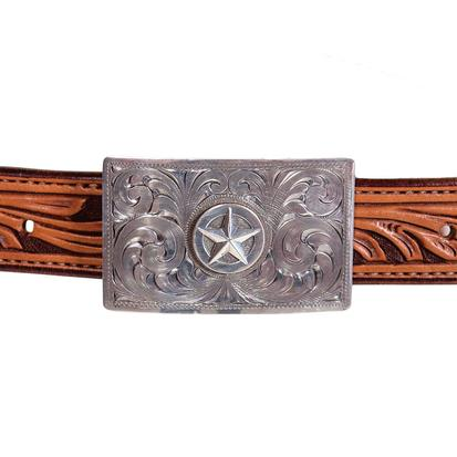 Clint Orms Zavala Rectangular Sterling Silver Star Buckle