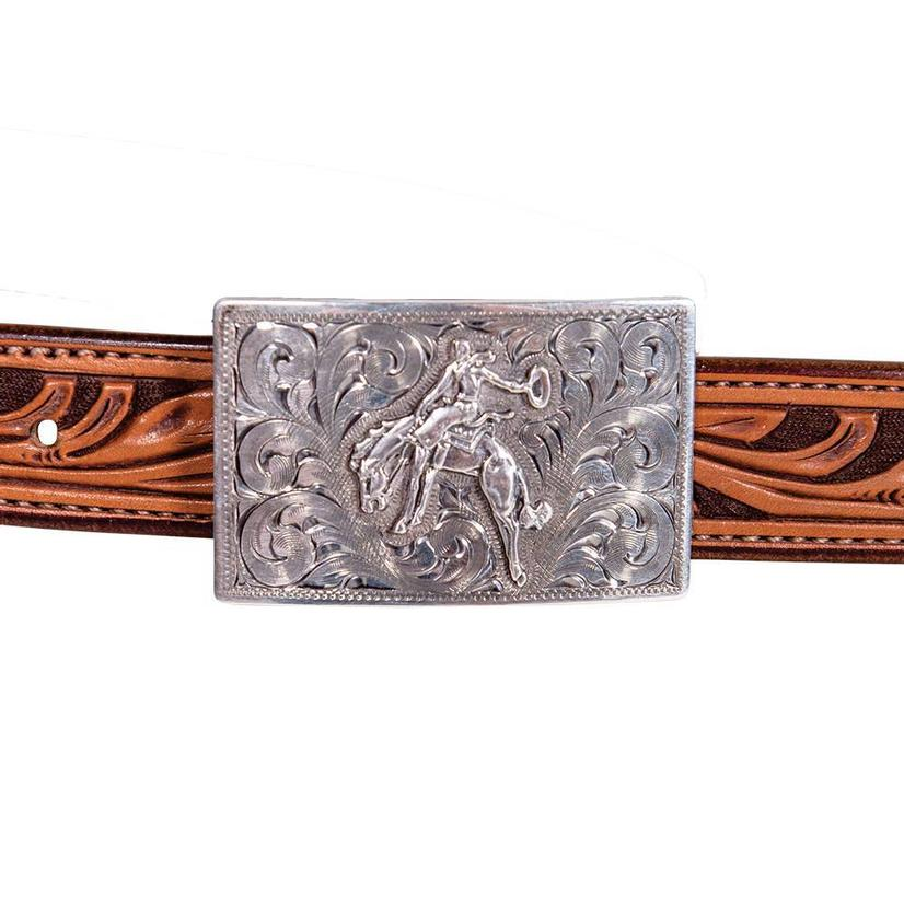 Clint Orms Rectangular Sterling Silver Bronc Buckle