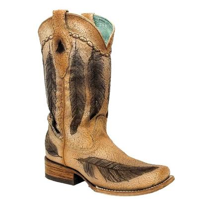 Corral Womens Vintage Feather Brown Cowgirl Boots