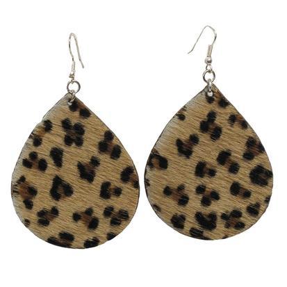 Miranda McIntire Leopard Hair on Hide Earrings