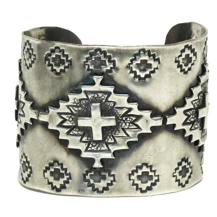 Aztec Silver Cuff Bracelet Medium