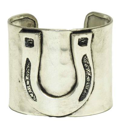Hammered Horsehoe Silver Cuff Bracelet