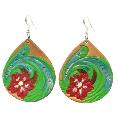 Miranda McIntire Floral Tooled Teardrop Earrings