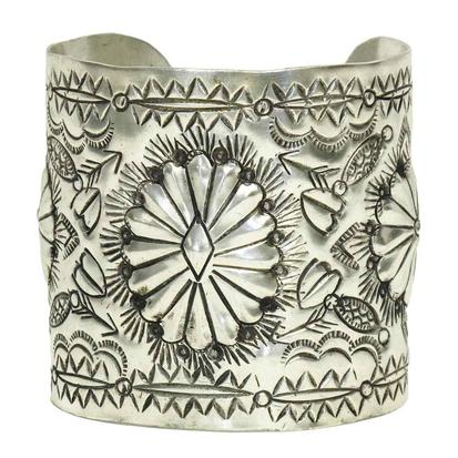 Floral Hearts and Arrows Silver Cuff Bracelet
