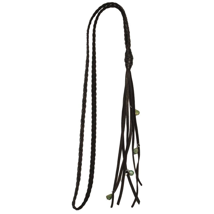 Lucky Lou Braided Leather Necklace W/Turquoise