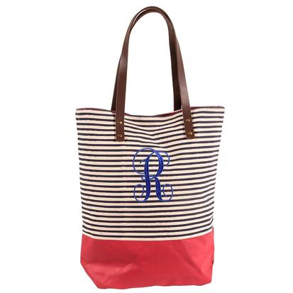 Seaport Stripes Dipped Navy & Red Tote