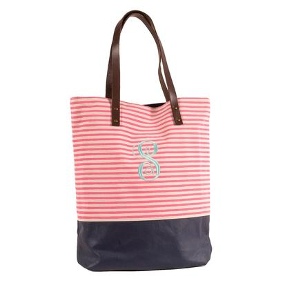 Seasport Stripes Dipped Coral Navy Tote