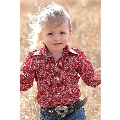 Cruel Girl Toddler Red Bandana Pearl Snap Top