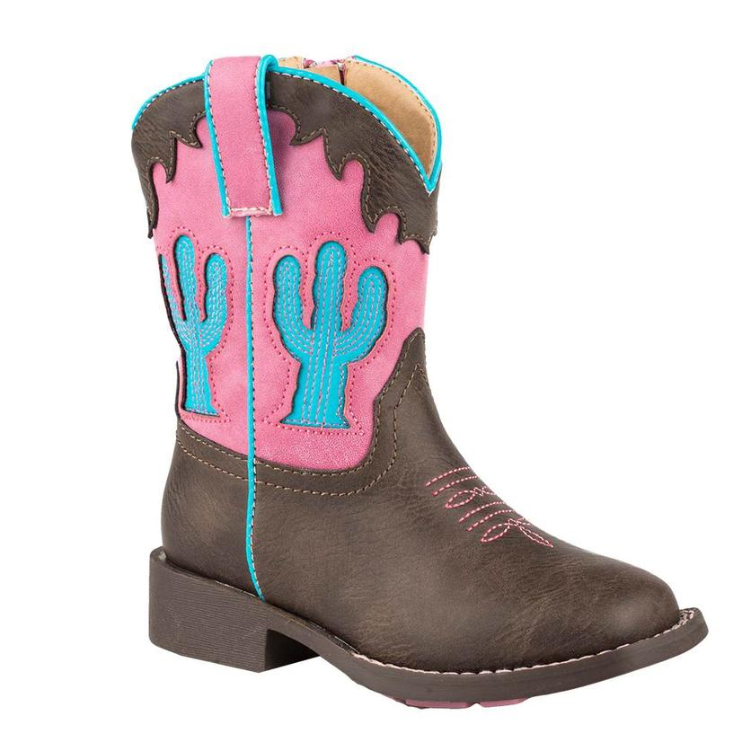 Roper Toddler Pink & Turquoise Cactus Inlay Western Boot