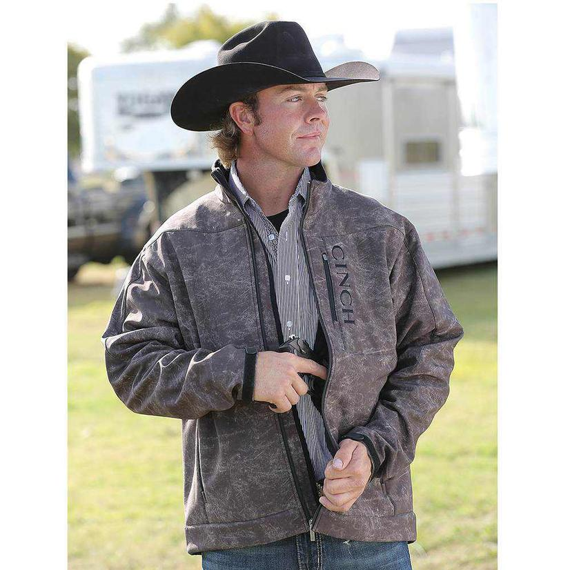 Cinch Mens Brown Print Bonded Concealed Carry Jacket