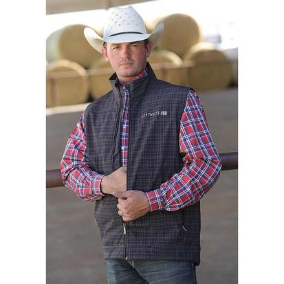 Cinch Mens Black Plaid Concealed Carry Vest