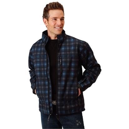Roper Mens Blue Plaid Bonded Jacket