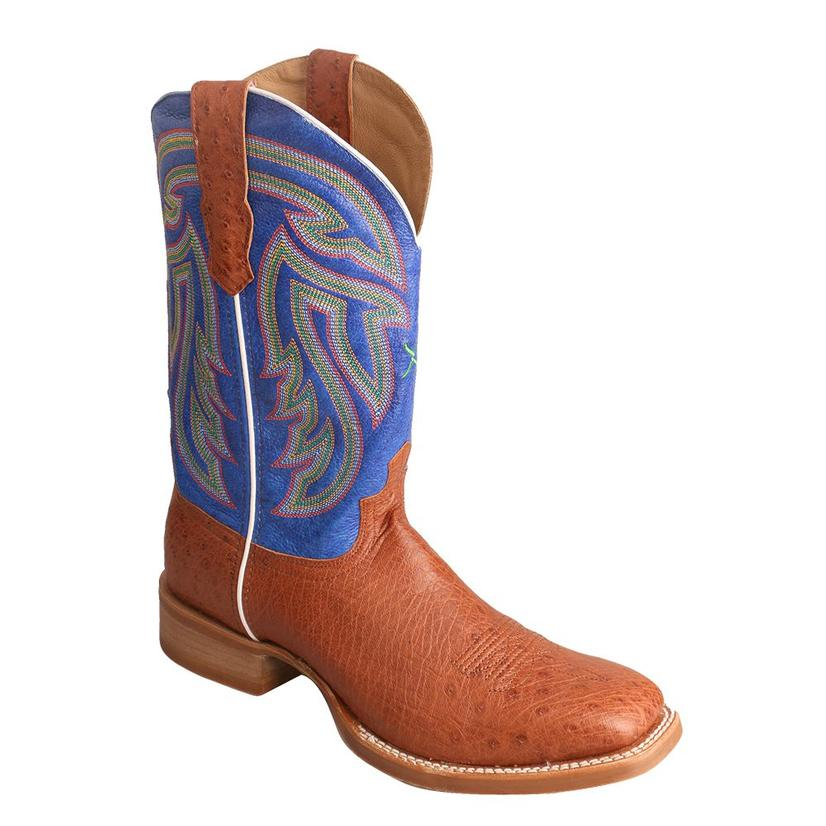 Twisted X Men ' S Brandy Smooth Ostrich Avatar Blue Rancher Boot