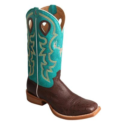 Twisted X Mens Tobac Smooth Ostrich Turquoise Top Boot