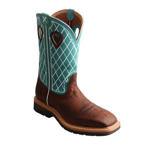 Twisted X Mens Lite Work Turquoise Pull On Soft Toe Boot