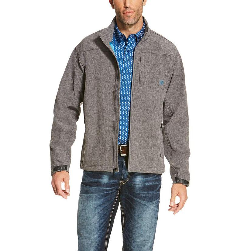 Ariat Mens Charcoal and Teal Softshell Zip Jacket