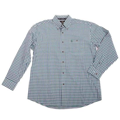 Wrangler Mens George Strait Navy Green Plaid Western Shirt