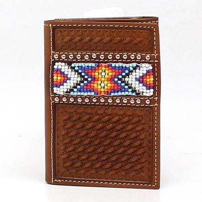 Nacona Brown Trifold Basket Weave Beaded Wallet