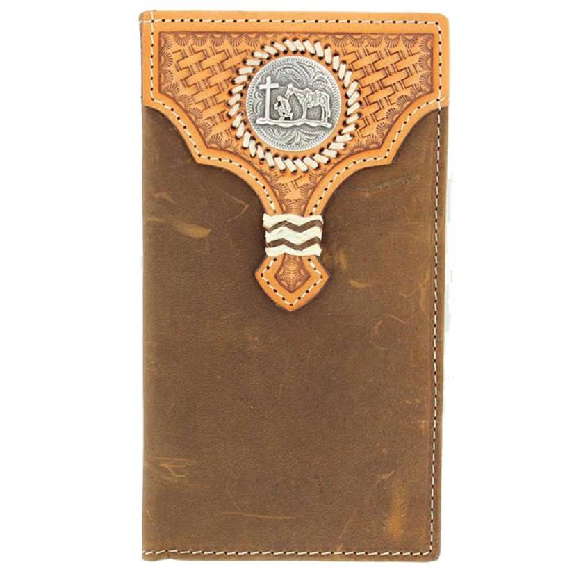 Nocona Mens Cowboy Prayer Concho Brown Leather Wallet