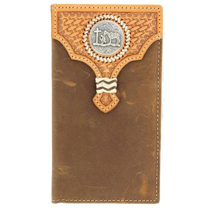 Nocona Mens Cowboy Prayer Concho Brown Leather Wallet